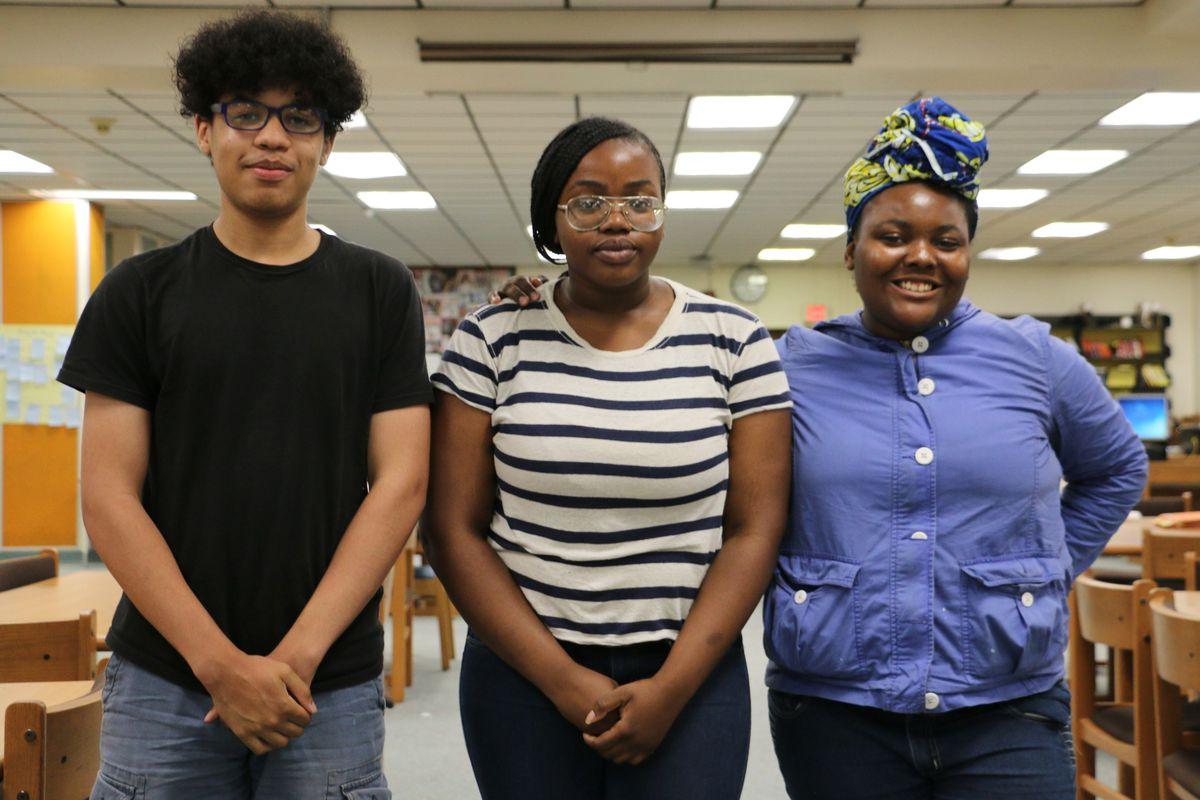 Newark Students Union members Bradley Gonmiah, Aishat Jimoh, and Azé Williams.