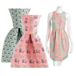 """For the couple not afraid to get a little whimsical, pair your punchy neon dress with an unpredictably printed tie.  <a href=""""http://www.vineyardvines.com/silk-ties/chicken-and-egg/1T0519,default,pd.html?dwvar_1T0519_color=315&start=50&cgid=Ties-Printed-T"""