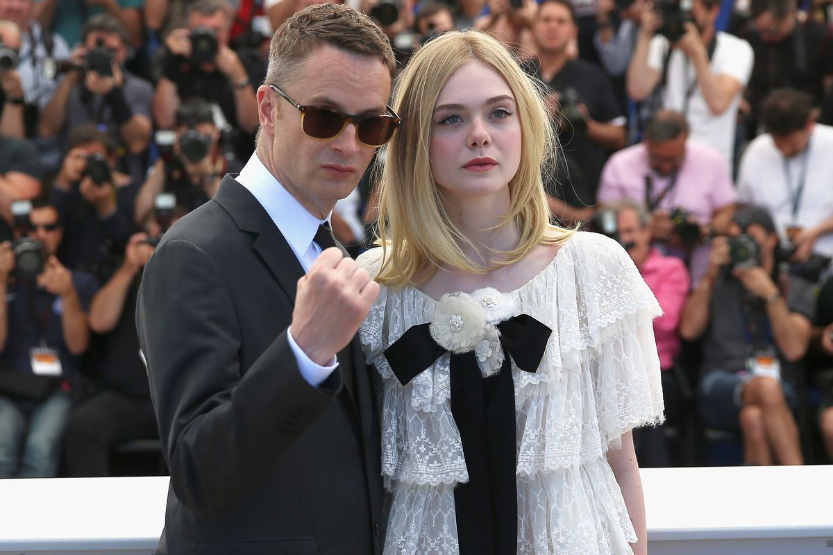 The Neon Demon director Nicolas Winding Refn and star Elle Fanning at the 2016 Cannes Film Festival.