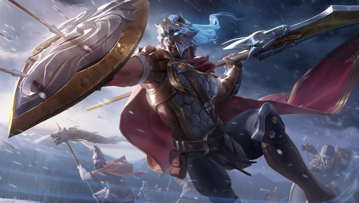 Glaive Warrior Pantheon's splash art, which has him in lion-themed armor, with a regal helmet that has his face peeking out of a lion's mouth.