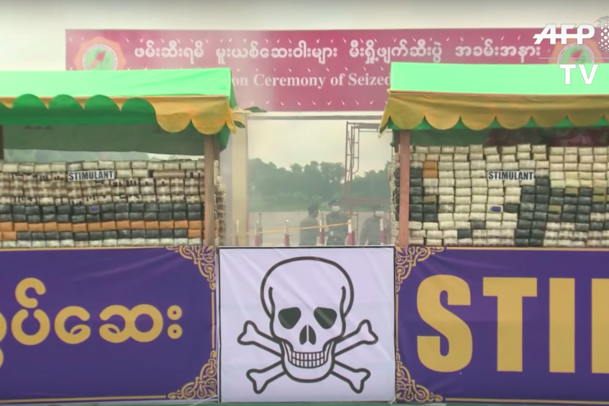 A picture of the 2017 drug-burning ceremony in Yangon