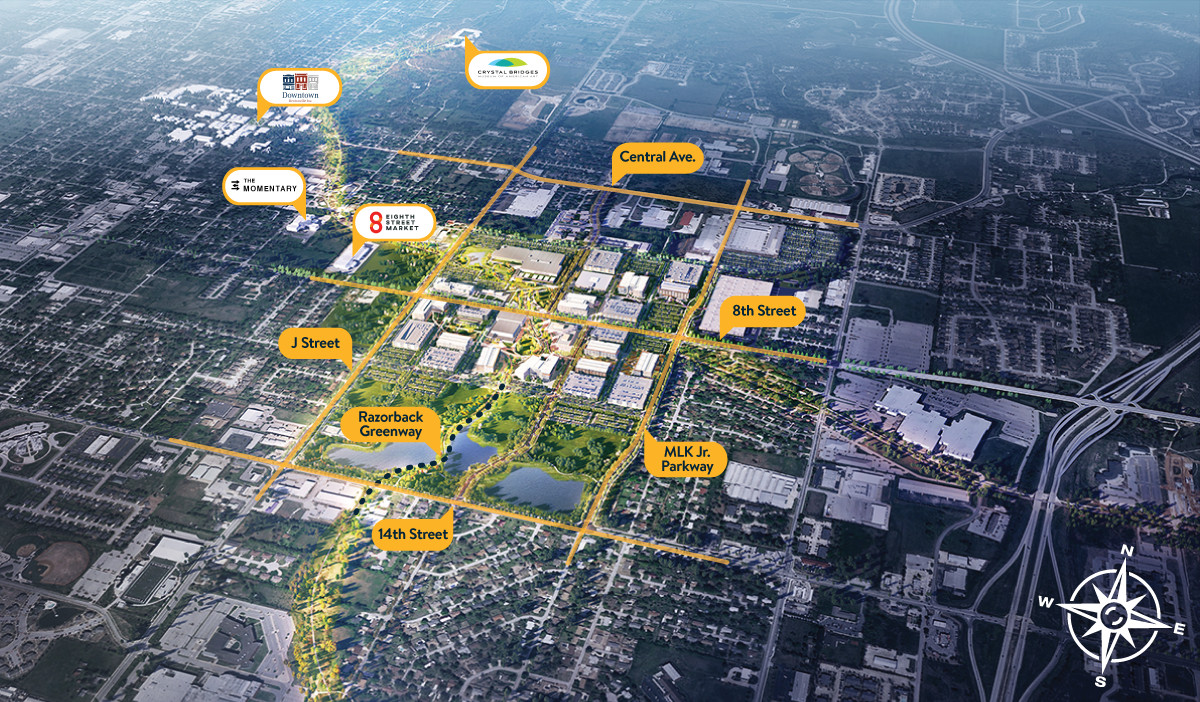 An overhead map of the Walmart home campus plan with important city destinations marked and labeled.