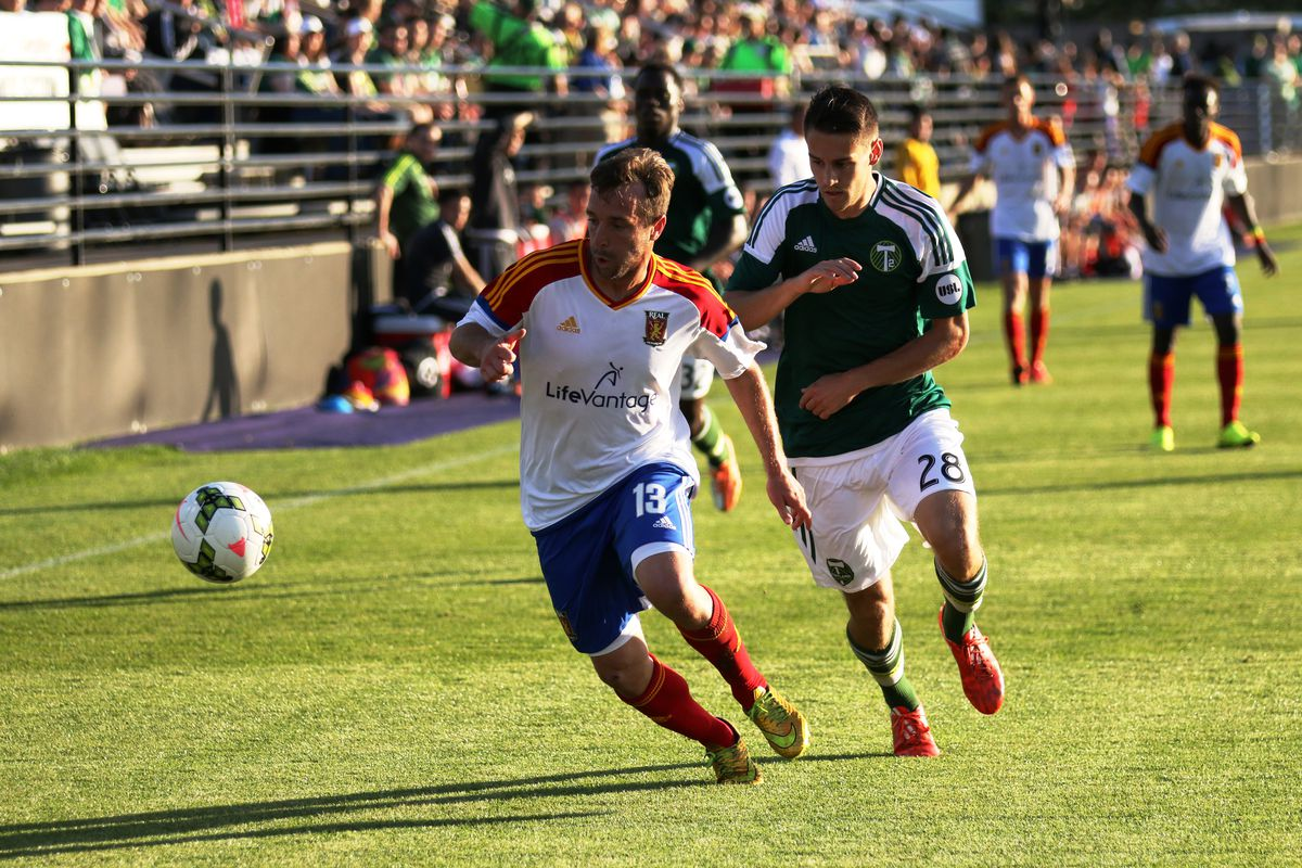 Former BYU forward Garrett Losee playing for Real Monarchs in an early season matchup against Portland Timbers FC 2.