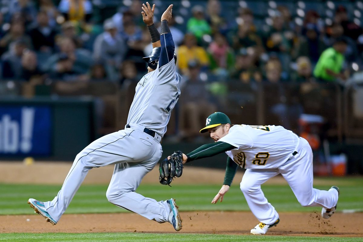 Canha notched the defensive play of the game for the A's on Monday.
