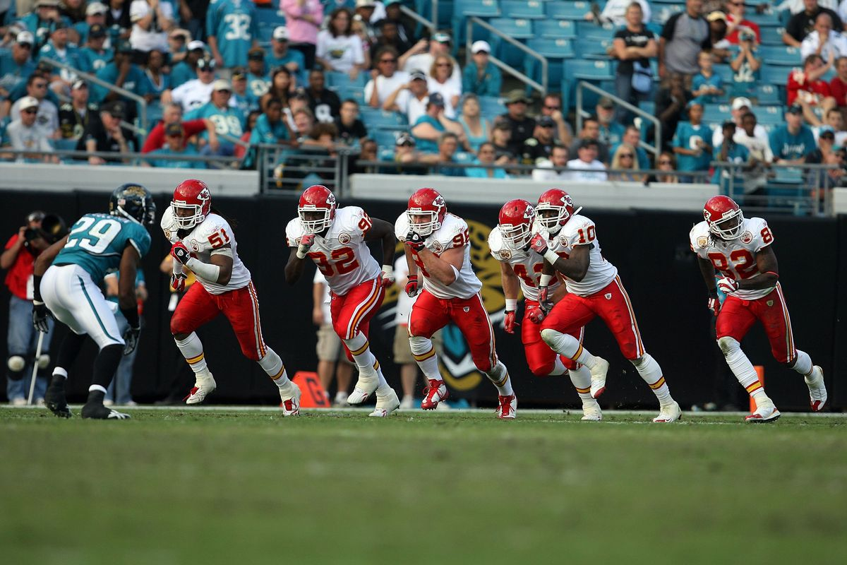 The kicking team of the Kansas City Chiefs scrambles to try and collect their second onside kick of the game against the Jacksonville Jaguars at Jacksonville Municipal Stadium on November 8, 2009 in Jacksonville, Florida.