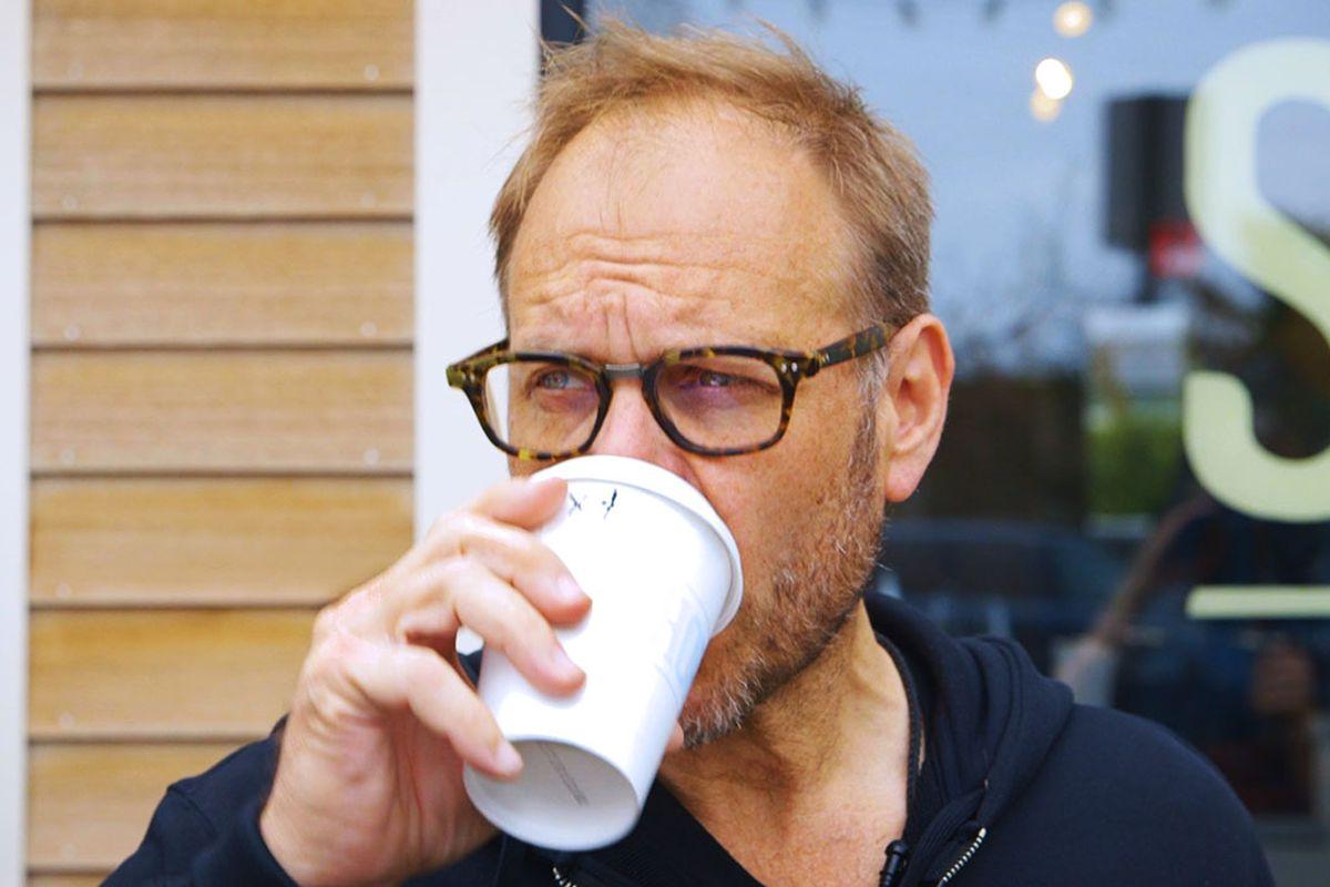 Alton Brown drinking coffee in Rhode Island