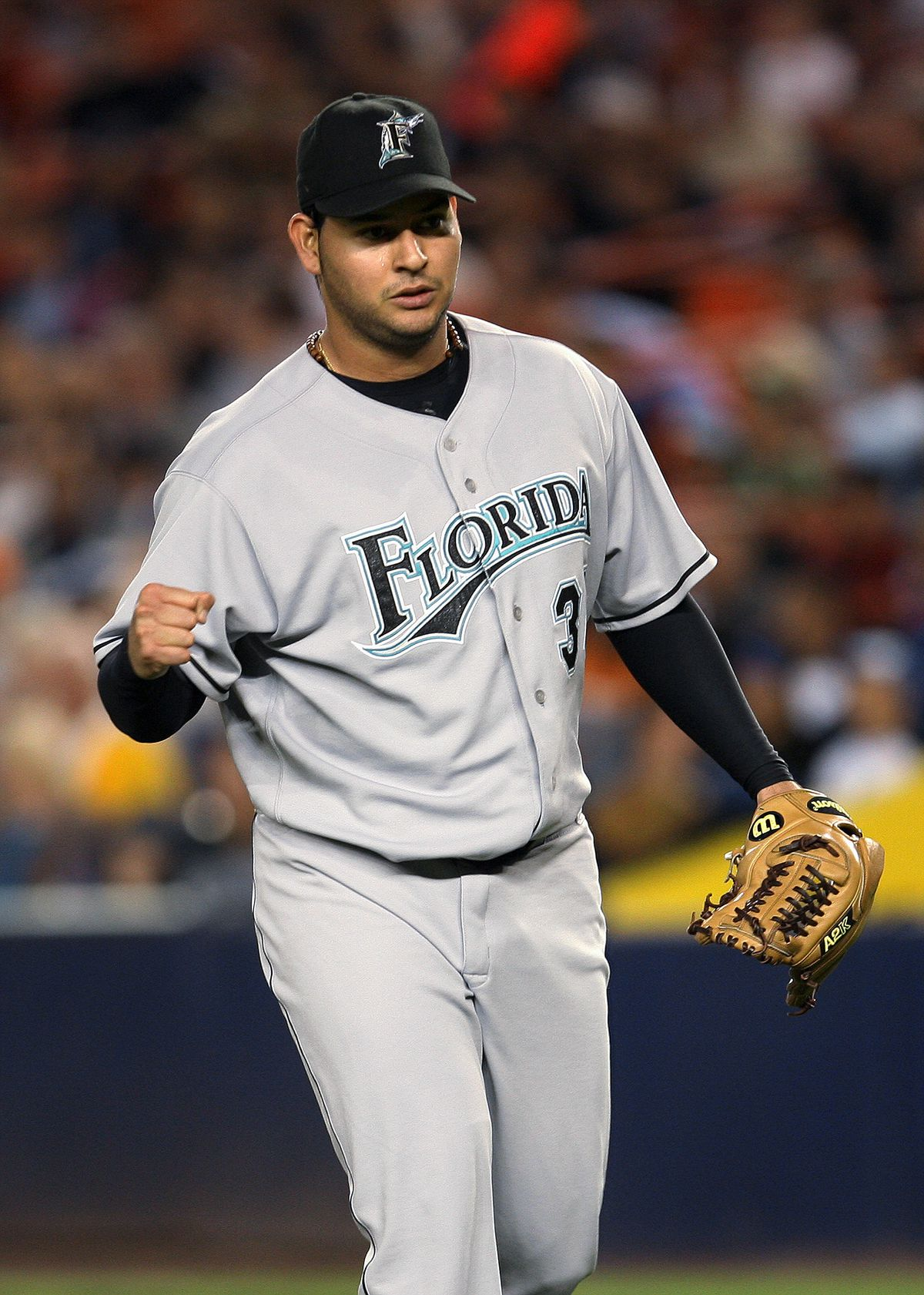 Florida Marlins' starter Anibal Sanchez pumps his fist as he