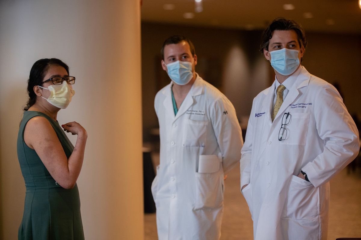Mayra Ramirez, 28, the first COVID-19 patient to receive a double-lung transplant at Northwestern Medicine, talks to her doctors after a press conference at Northwestern Medicine Prentice Women's Hospital Thursday morning July 30, 2020.