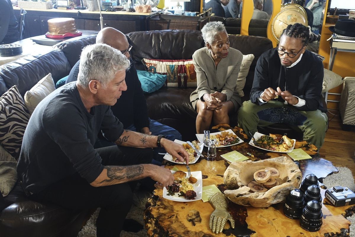 Anthony Bourdain at the home of Lupe Fiasco's mother in Chicago