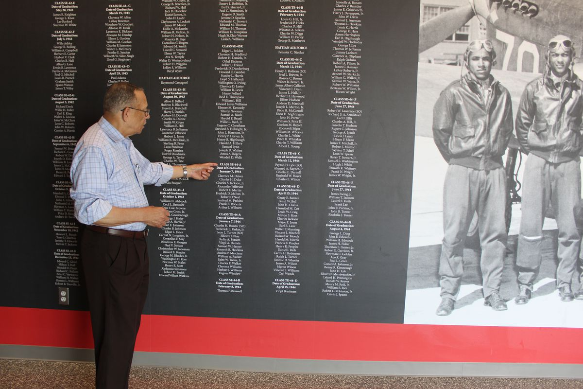 A wall honoring the Tuskegee Airmen, the nation's first black Air Force division, at the newly remodeled headquarters of the Davis Aerospace Technical Committee.