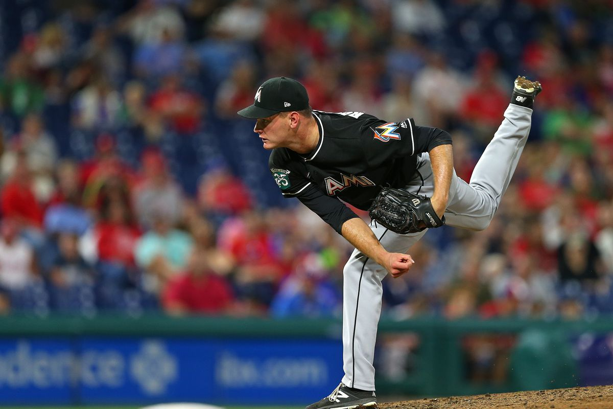 Drew Rucinski of the Miami Marlins in action against the Philadelphia Phillies during a game at Citizens Bank Park on September 15, 2018 in Philadelphia, Pennsylvania.