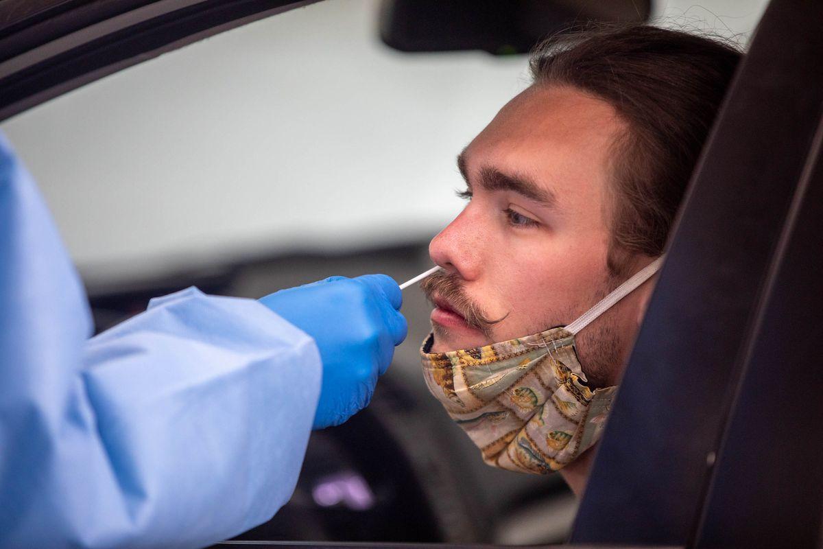 A man gets a COVID-19 test.