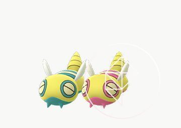 Shiny Dunsparce with its normal form. Shiny Dunsparce has pink details instead of blue.