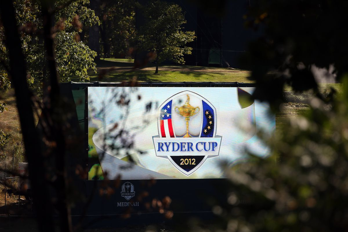 MEDINAH, IL - SEPTEMBER 24:  Final preparations are made during the first preview day of the 39th Ryder Cup at Medinah Country Golf Club on September 24, 2012 in Medinah, Illinois.  (Photo by Ross Kinnaird/Getty Images)