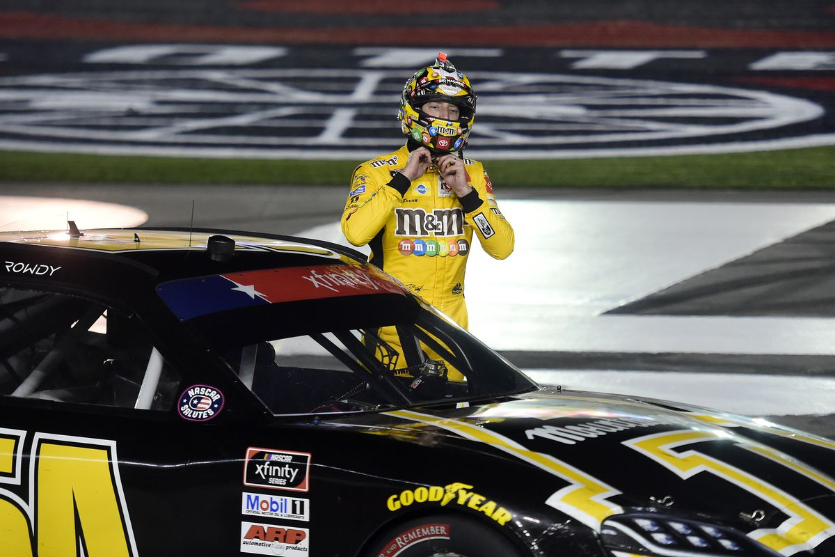 Kyle Busch, driver of the App State Class of 2020 Toyota, exits the car after winning the NASCAR Xfinity Series Alsco 300 at Charlotte Motor Speedway on May 25, 2020 in Concord, North Carolina.