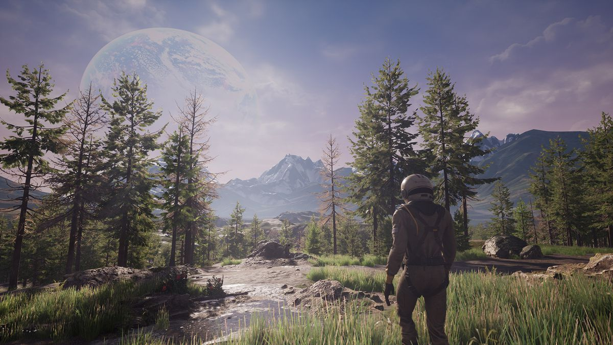 A spaceman in a full pressure suit walks along a crisp mountain river. There's another planet on the horizon.