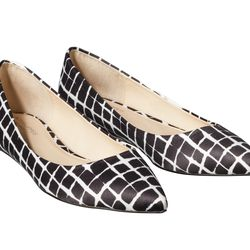 Pointed-Toe Ballet Flat in Black/White Plaid, $29.99