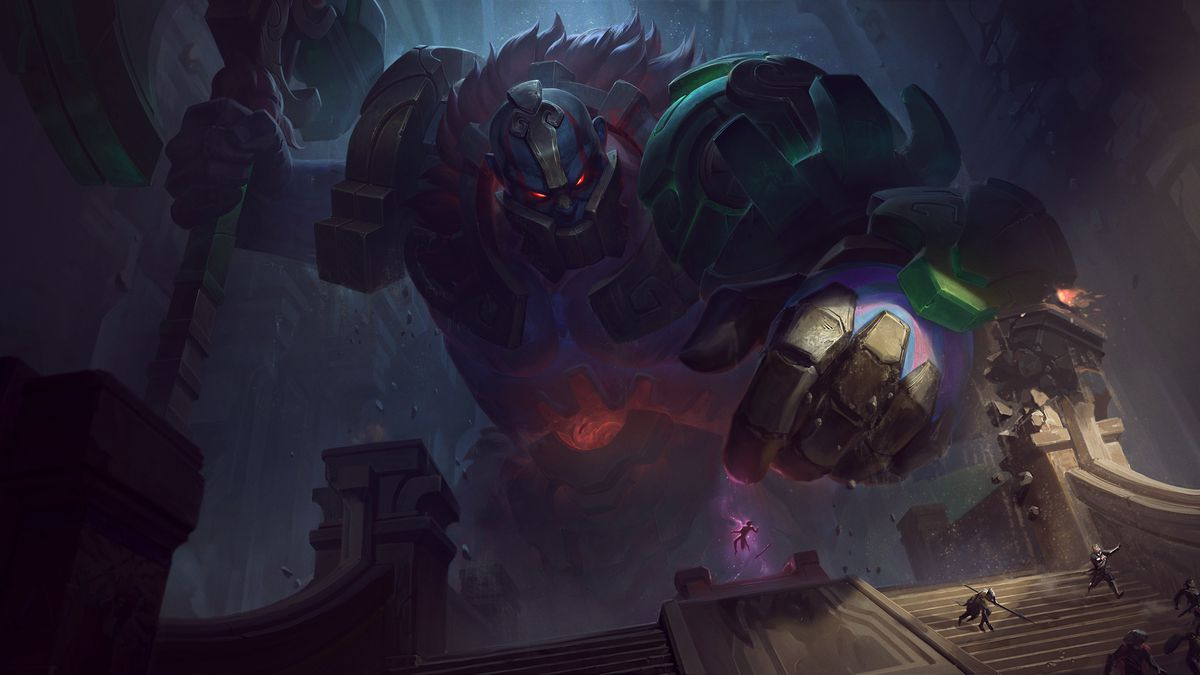 Worldbreaker Sion gets ready to smash a human