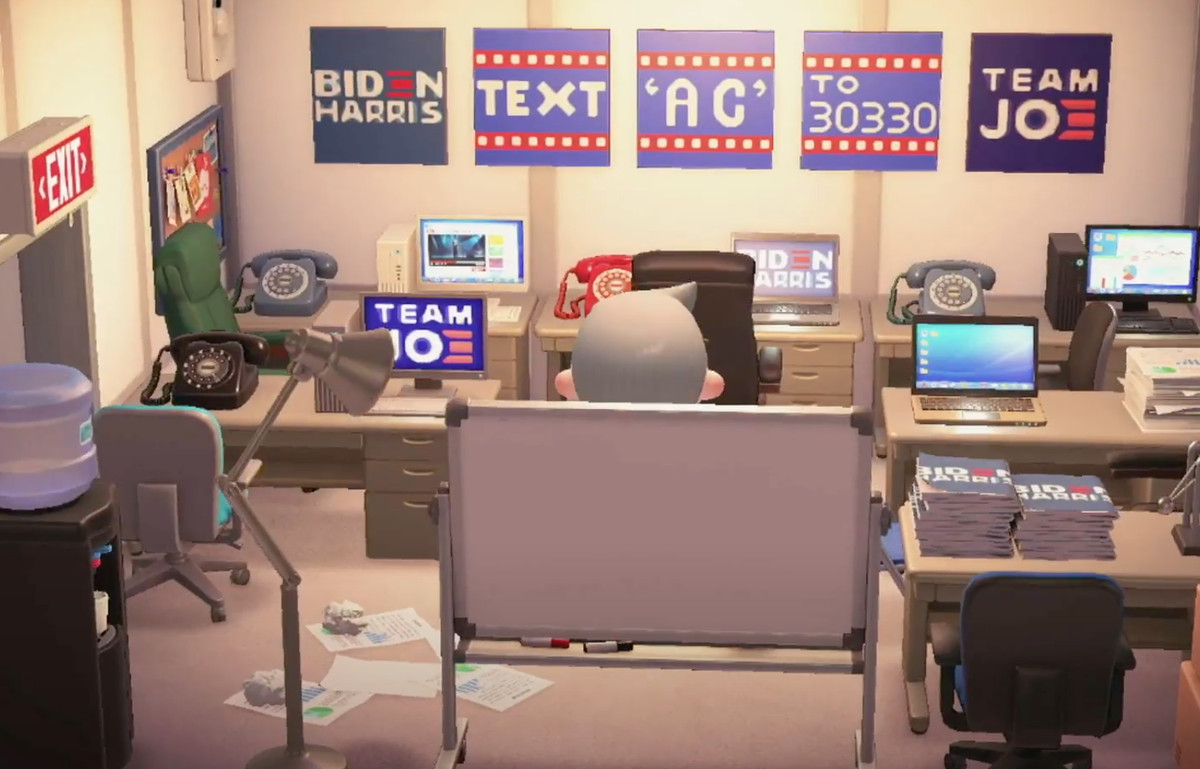 screenshot from inside the Biden-Harris 2020 campaign headquarters in Animal Crossing: New Horizons