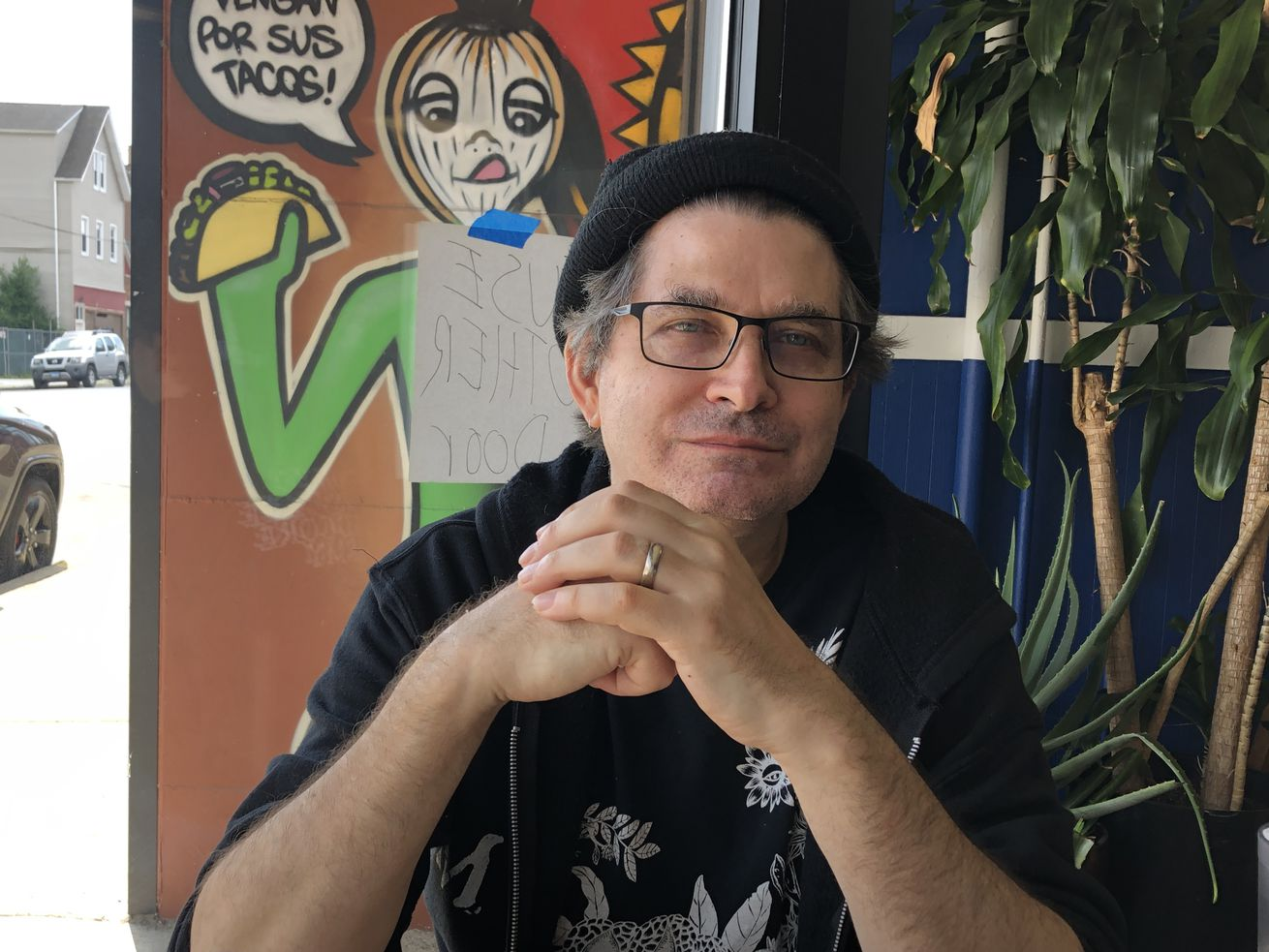 Steve Albini at Traspasada restaurant, 3144 N. California Ave., in August 2021. Despite his notoriety as a musician and sound engineer, he figures not one Chicagoan in a thousand would recognize his name.