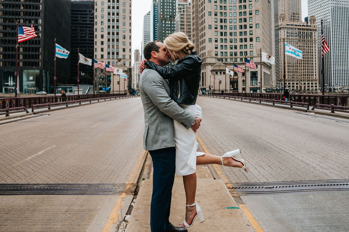 Kyle and Amy Ruch had the DuSable Bridge all to themselves March 21, 2020, after their wedding at Holy Name Cathedral.