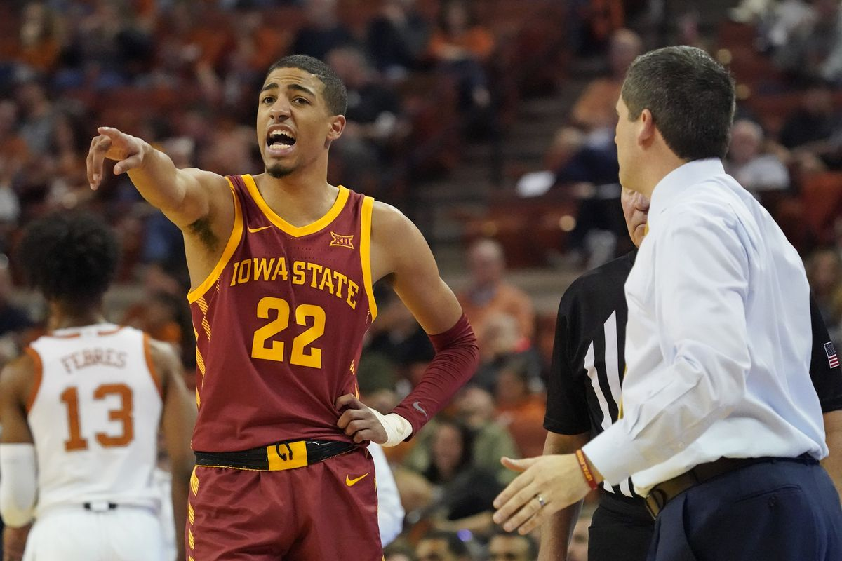 Iowa State Cyclones guard Tyrese Haliburton and head coach Steve Prohm in the second half of the game against the Texas Longhorns at Frank C. Erwin Jr. Center.