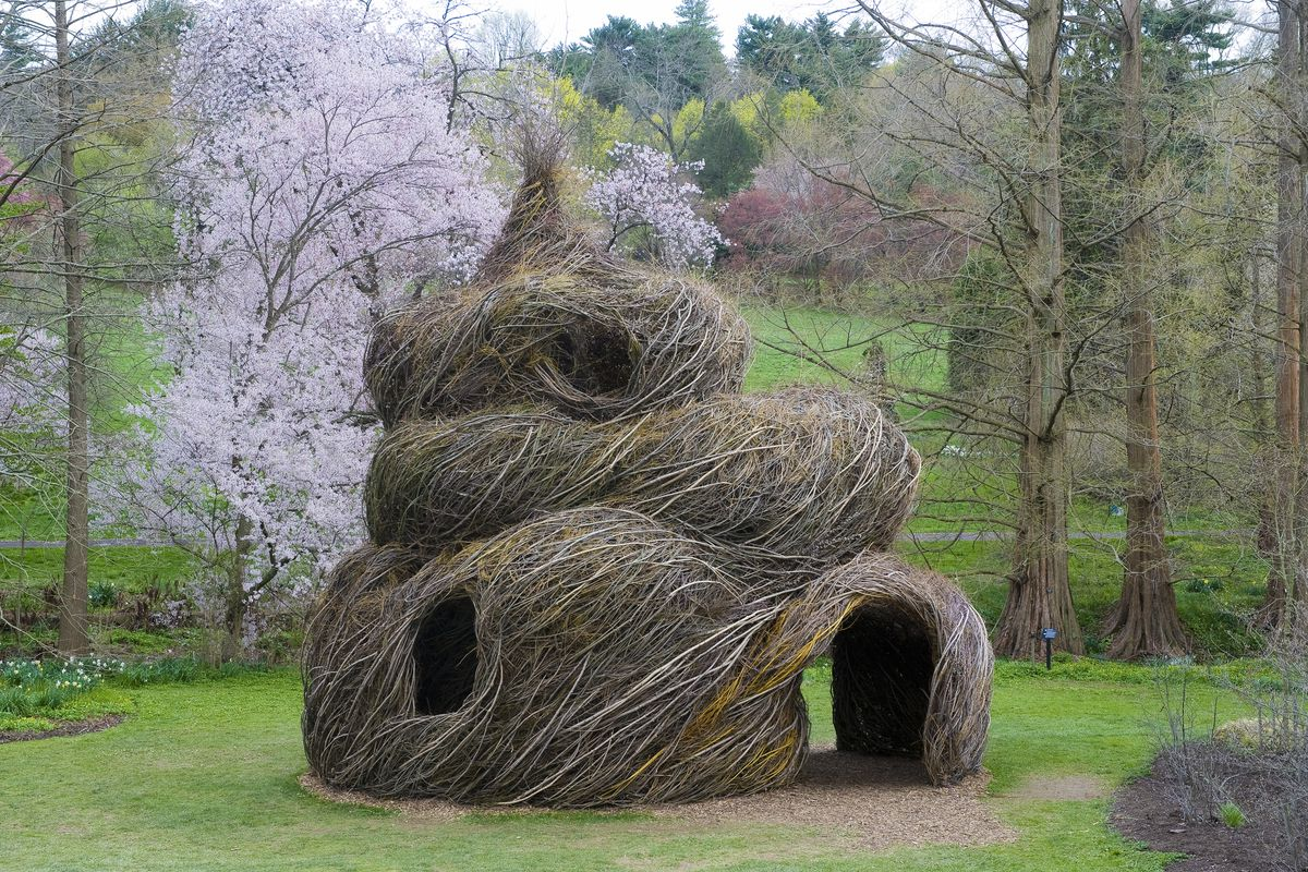 Whimsical stick house/structure in park