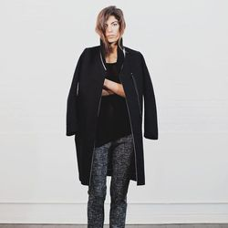 Vanessa Bruno, tweed stretch pants (with tuxedo stripe): $450; MM6 by Martin Margiela black trench coat (with white piping): $990