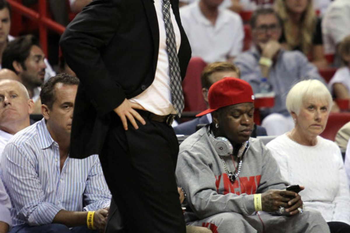 Jun 17, 2012; Miam, FL, USA; Oklahoma City Thunder head coach Scott Brooks reacts during the first quarter in game three in the 2012 NBA Finals against the Miami Heat at the American Airlines Arena. Mandatory Credit: Derick E. Hingle-US PRESSWIRE