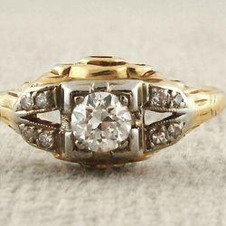 1950's original European Diamond two tone gold engagement ring, $2,300 at <b>Elleven</b>