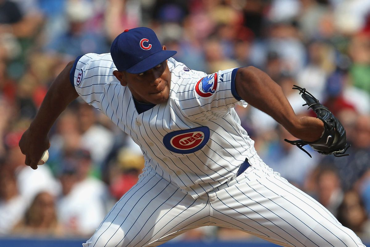 Carlos Marmol of the Chicago Cubs delivers the ball against the New York Yankees at Wrigley Field on June 17, 2011 in Chicago, Illinois. The Cubs defeated the Yankees 3-1.  (Photo by Jonathan Daniel/Getty Images)