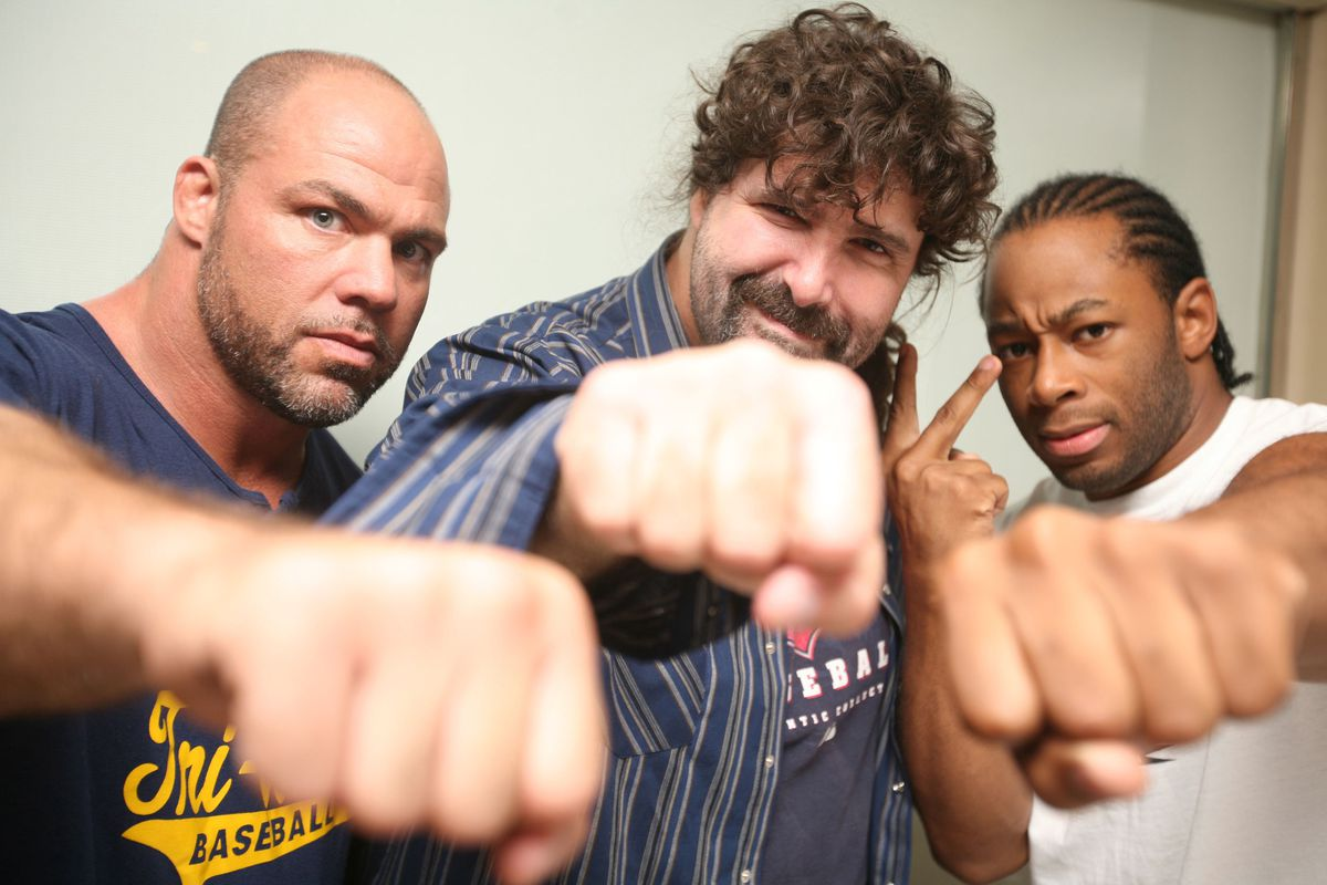 Angle with Mick Foley and Jay Lethal in TNA (GettyImages)