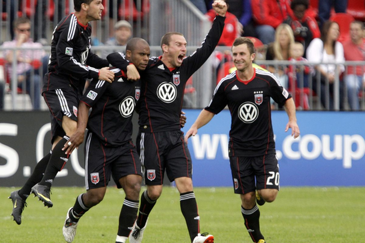 TORONTO CANADA - SEPTEMBER 28: D.C. United celebrates Julius James goal during a MLS game against Toronto FC at BMO Field September 11 2010 in Toronto Ontario Canada. (Photo by Abelimages/Getty Images)