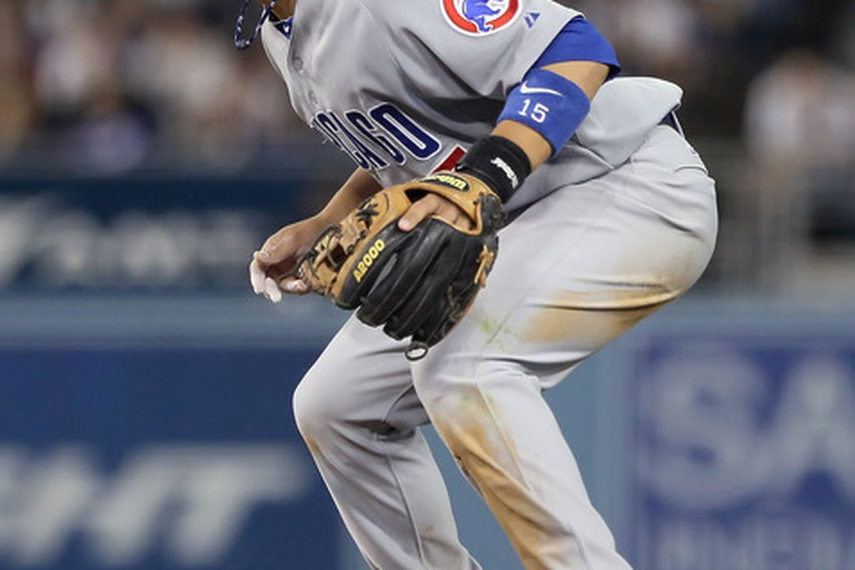Second baseman Darwin Barney of the Chicago Cubs demonstrates his mastery of The Force through levitation. (Photo by Jeff Gross/Getty Images)