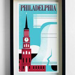 """<a href=""""http://pilotandcaptain.com/products/philadelphia-travel-print"""">Philadelphia Travel Print</a>, $40 from Pilot & Captain"""