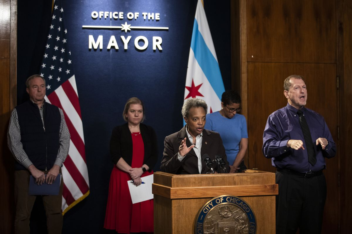 Mayor Lori Lightfoot speaks during a press conference at City Hall about the city's response to the coronavirus pandemic, Monday afternoon, March 23, 2020.