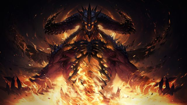 Artwork of Diablo in flames from Diablo Immortal.