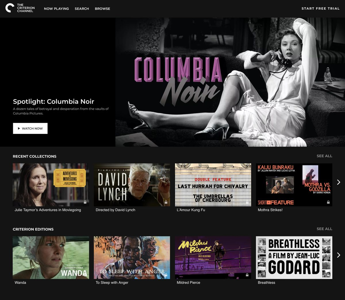 Criterion Channel homepage - Columbia Noir