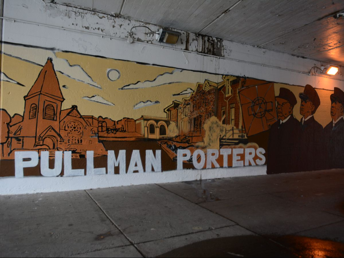 The Pullman Porters depicted in a mural in Pullman. |Brian Jackson/ For the Sun-Times