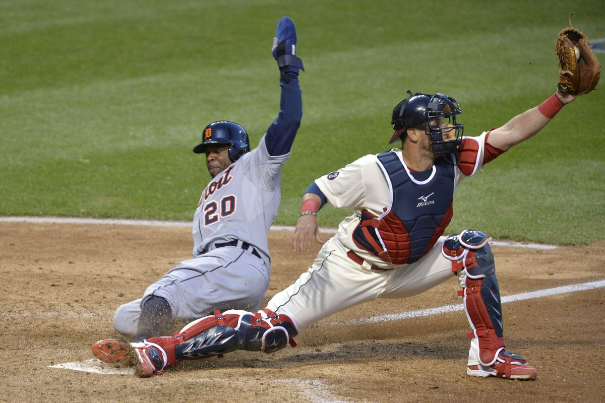 Yan Gomes injured his knee on this play at the plate.