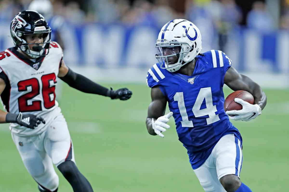 Indianapolis Colts wide receiver Zach Pascal runs with the ball against the Atlanta Falcons during the fourth quarter at Lucas Oil Stadium.