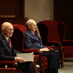 President Russell M. Nelson,  right, and President Dallin H. Oaks of The Church of Jesus Christ of Latter-day Saints are seated in a small auditorium in the Church Office Building for the Saturday morning session of the 190th Annual General Conference on Saturday, April 4, 2020.