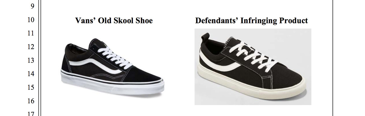 Vans and Wild Fable sneakers, from the suit filing.