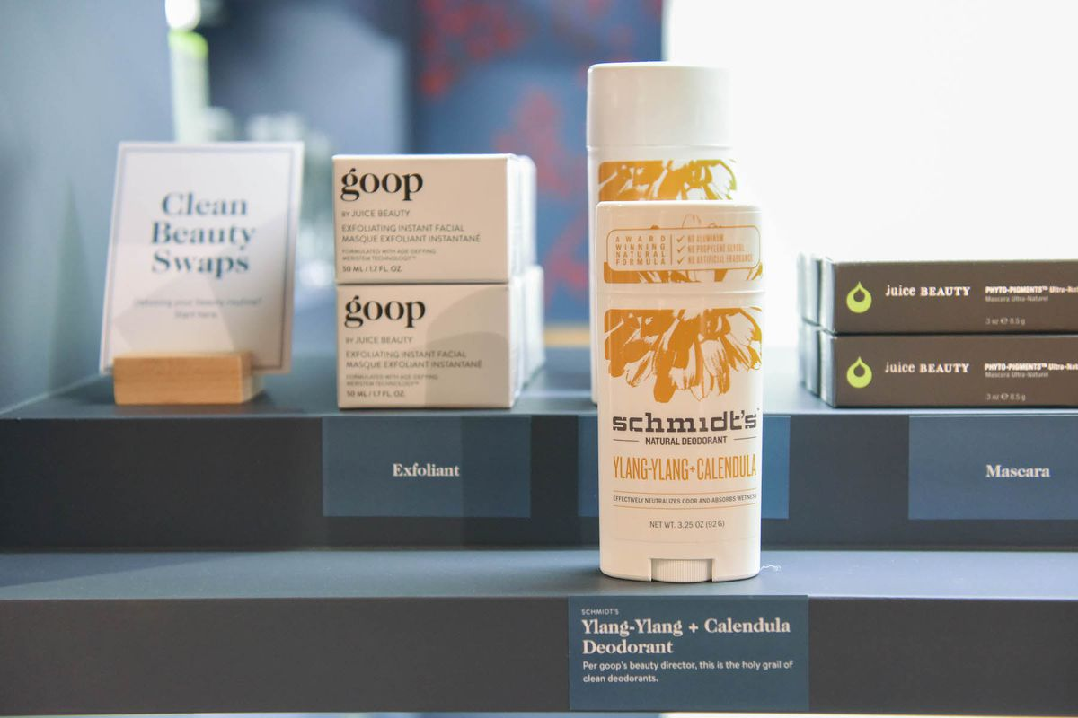 A row of beauty products at Nordstrom's Goop pop-up shop