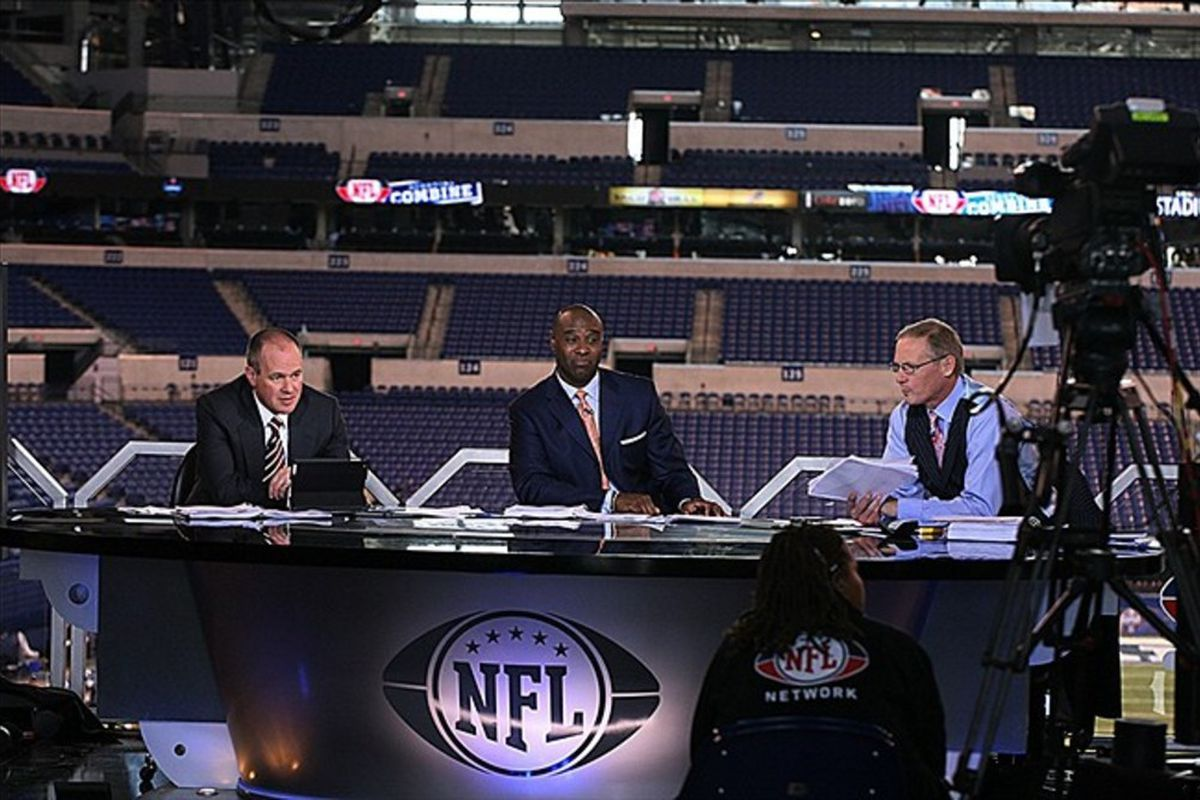 Feb 25, 2012; Indianapolis, IN, USA; NFL Network announcer Rich Eisne broadcasting during the NFL Combine at Lucas Oil Stadium. Mandatory Credit: Brian Spurlock-US PRESSWIRE