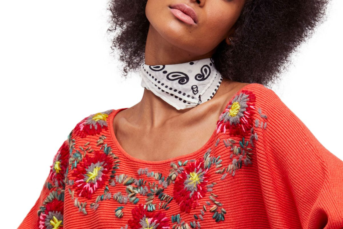 Free People Bouquet Sweater in red