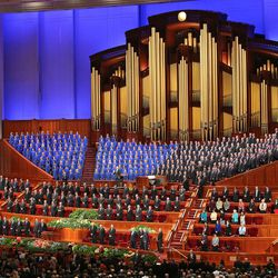 The congregation sings during the opening session of the 183rd Semiannual  General Conference of the Church of Jesus Christ of Latter-day Saints Saturday, Oct. 5, 2013, in Salt Lake City.