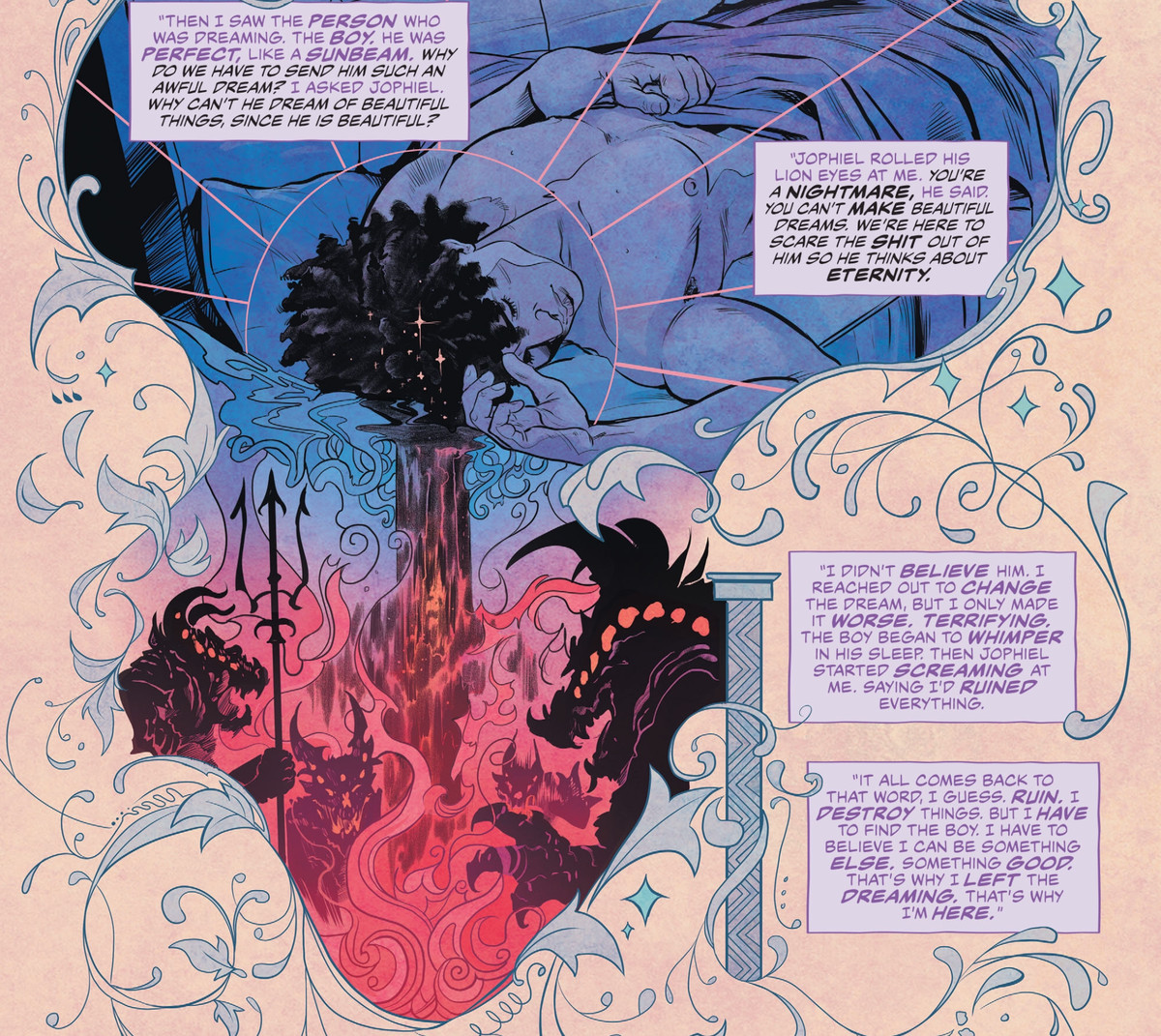 Ruin, a nightmare, describes seeing his first charge and instantly falling in love, unable to perform his function of giving the beautiful man a nightmare, in The Dreaming: Waking Hours #2, DC Comics (2020).