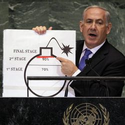 In this Thursday, Sept. 27, 2012 photo, Prime Minister Benjamin Netanyahu of Israel shows an illustration as he describes his concerns over Iran's nuclear ambitions during his address to the 67th session of the United Nations General Assembly at U.N. headquarters. Netanyahu's use of a cartoon-like drawing of a bomb to convey a message over Iran's disputed nuclear program this week, follows in a long and storied tradition of leaders and diplomats using props to make their points at the United Nations.