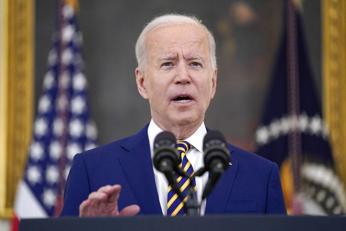 President Joe Biden speaks about COVID-19 vaccination shots.